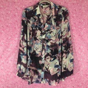 Tahari 1X Sheer Floral Button Down Blouse
